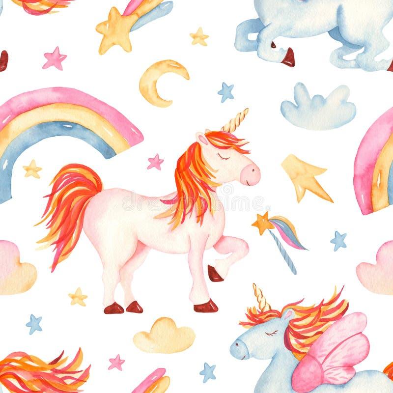 与逗人喜爱的动画片浪漫独角兽的水彩无缝的样式,彩虹,星,云彩 向量例证