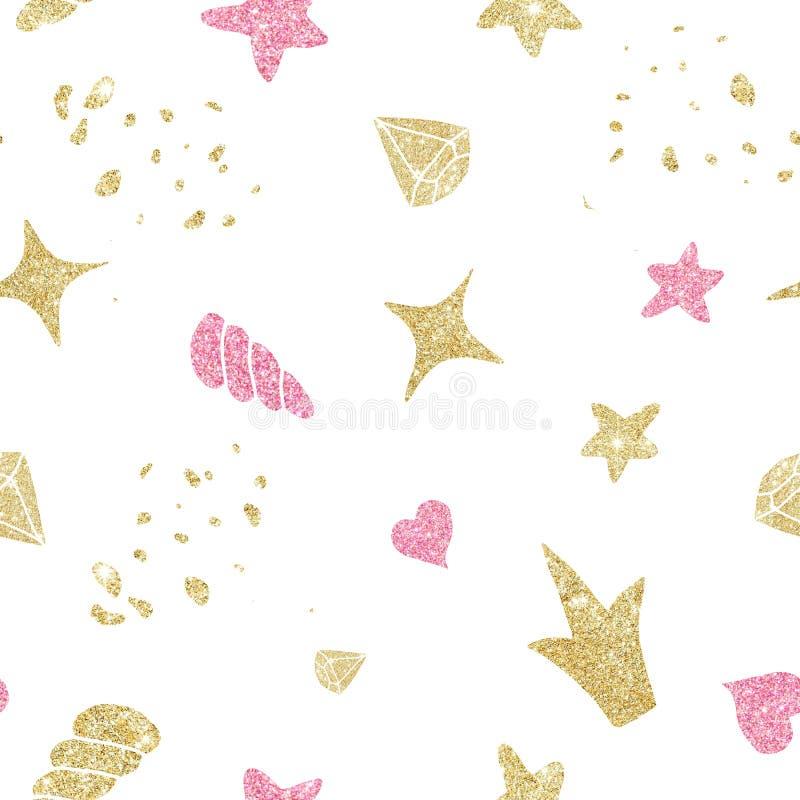 与逗人喜爱的动画片浪漫金黄独角兽的水彩无缝的样式,花,金刚石,垫铁 皇族释放例证