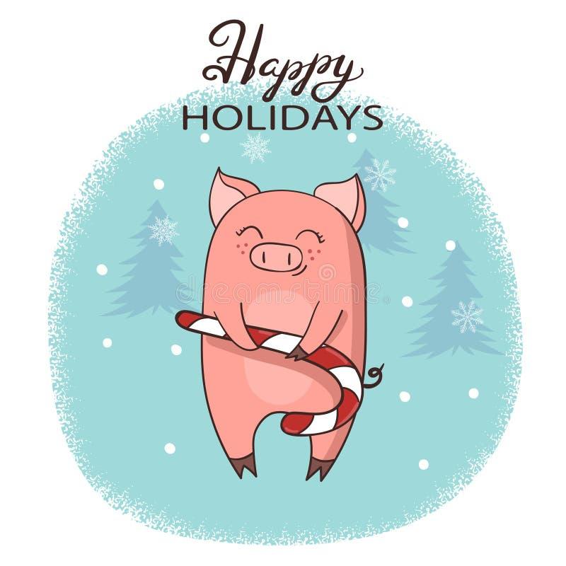与逗人喜爱的动画片猪的圣诞卡与xmas棒棒糖 皇族释放例证