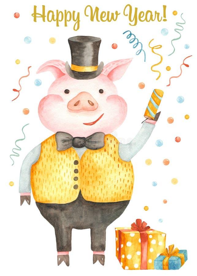 与逗人喜爱的动画片猪的水彩圣诞卡片 年的标志2019年 皇族释放例证