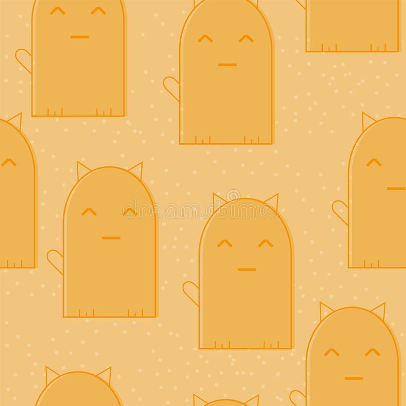 与逗人喜爱的动画片猫的无缝的样式在橙色背景 滑稽的小猫 皇族释放例证