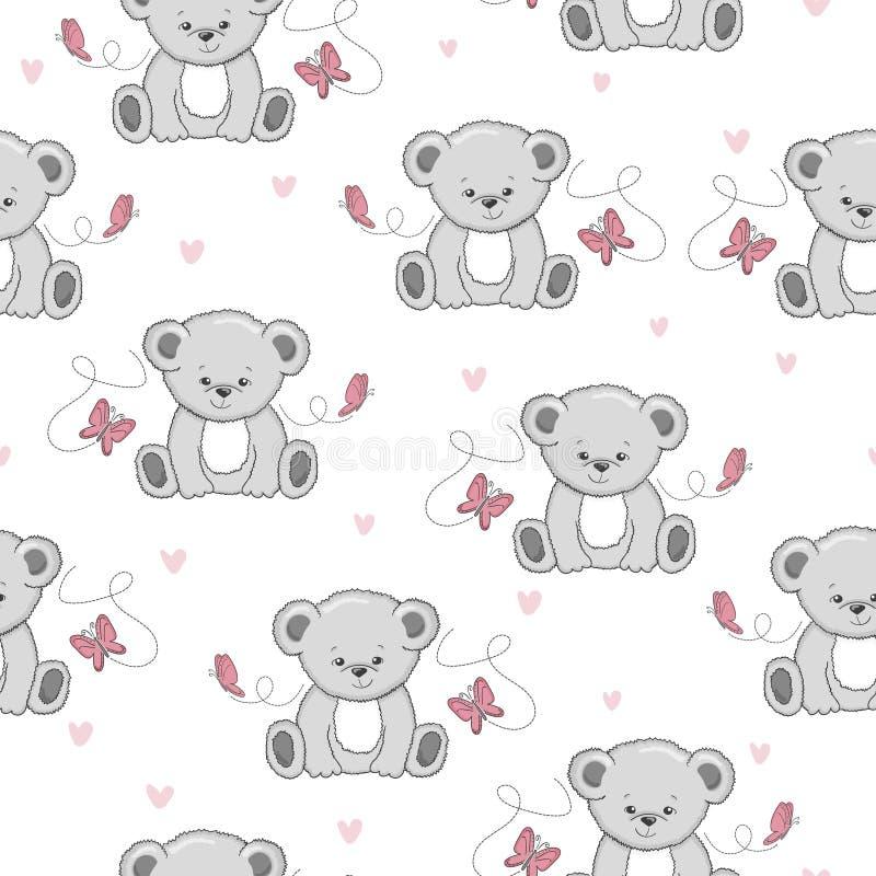 与逗人喜爱的动画片玩具熊和蝴蝶的无缝的样式 皇族释放例证