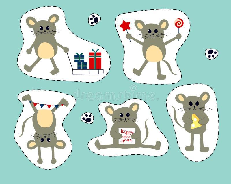 与逗人喜爱的动画片老鼠的传染媒介例证-春节的标志2020年 库存例证