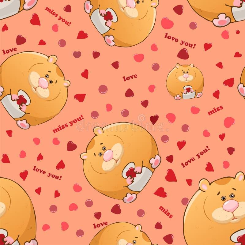 与逗人喜爱的动画片肥胖仓鼠的传染媒介无缝的样式 r 厚实的可笑的野兽 在桃红色背景的纹理 ?? 皇族释放例证