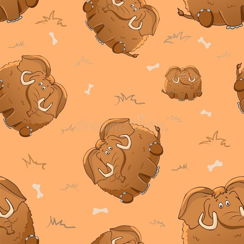 与逗人喜爱的动画片肥胖庞然大物和骨头的传染媒介无缝的样式 r 厚实的可笑的野兽 在米黄背景的纹理 向量例证