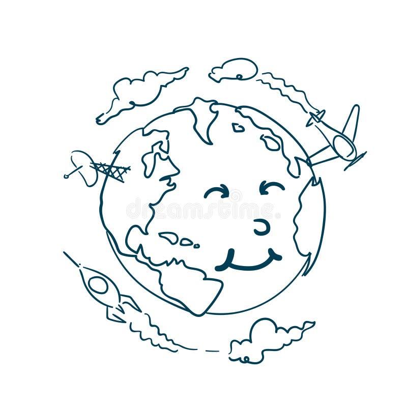与逗人喜爱的动画片面孔的行星乱画在白色背景世界地球日概念 向量例证