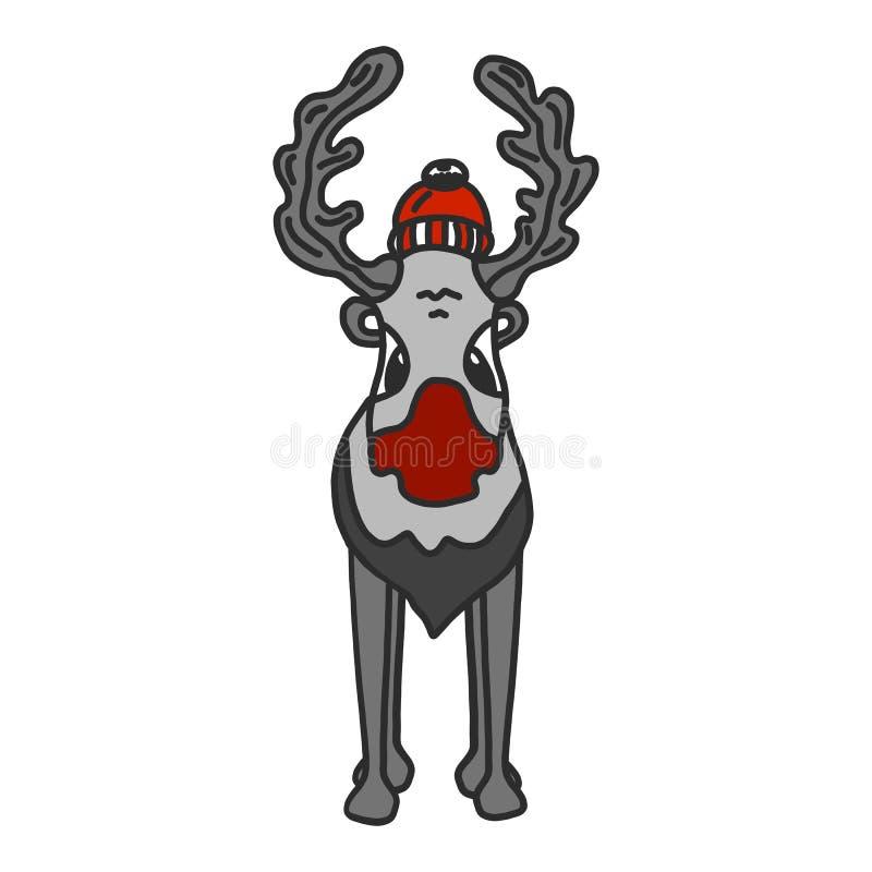 与逗人喜爱的动画片鹿的圣诞节例证在乱画样式 o 向量例证