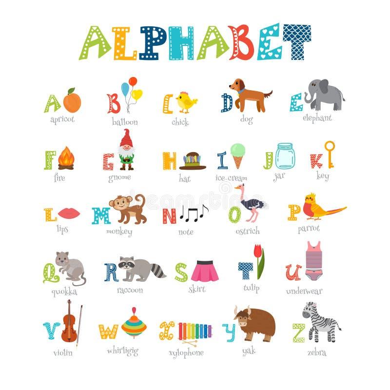 与逗人喜爱的动画片动物和其他滑稽的elem的儿童字母表 库存例证