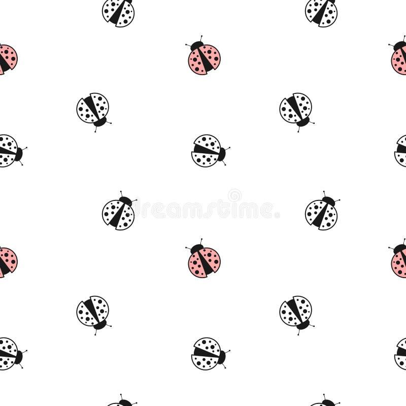 与逗人喜爱的可爱的瓢虫的黑白色和红色无缝的样式背景例证 皇族释放例证