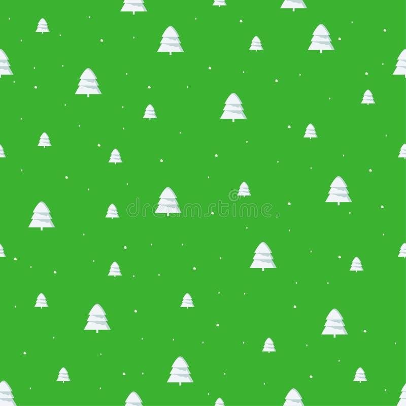 与逗人喜爱的圣诞树的被隔绝的无缝的新年欢乐样式,在鲜绿色的背景 向量例证
