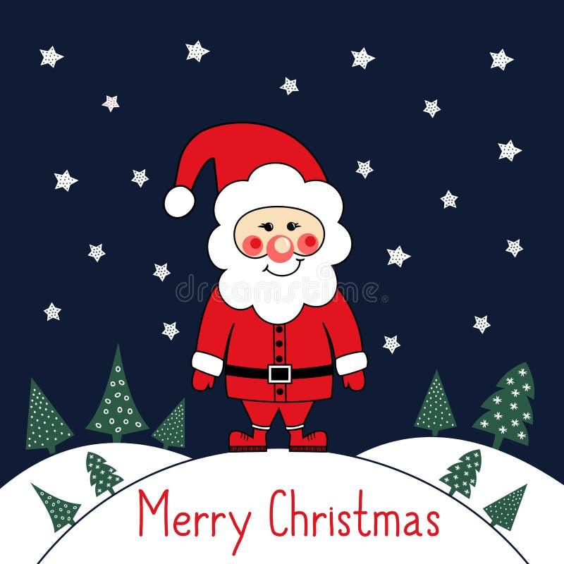 与逗人喜爱的圣诞老人、xmas树和星的圣诞快乐卡片在深蓝背景 皇族释放例证
