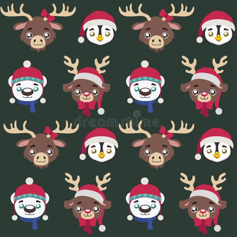 与逗人喜爱的圣诞节动物的无缝的样式 向量例证