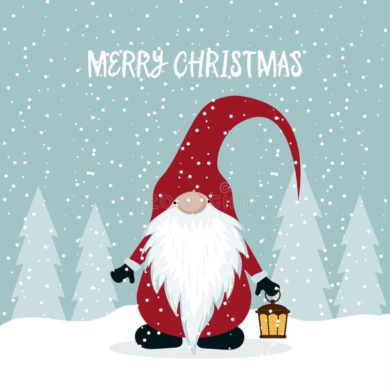 与逗人喜爱的地精的圣诞卡片 皇族释放例证