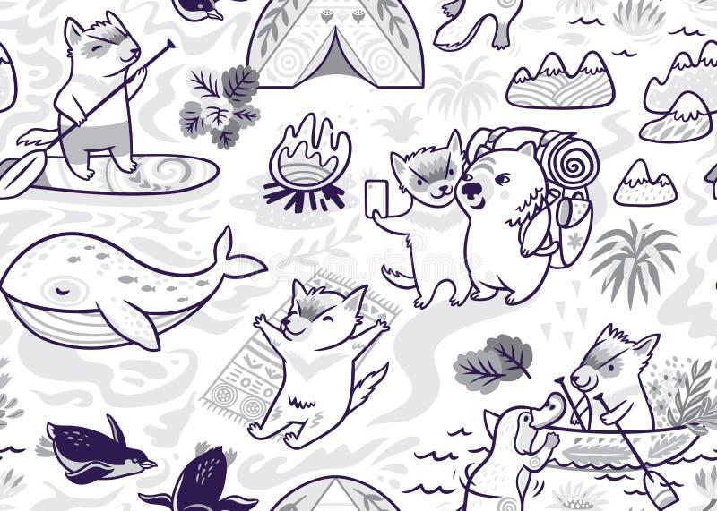 与逗人喜爱的塔斯马尼亚恶魔和其他澳大利亚动物的墨水无缝的样式在动画片样式 r 库存例证