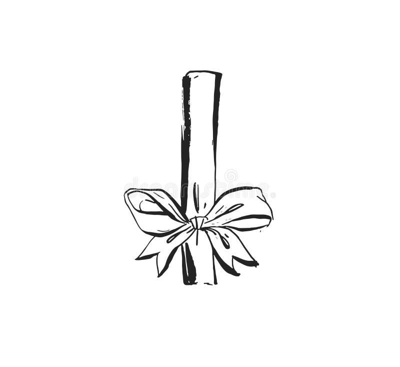 与逗人喜爱的墨水毛笔画例证弓的手拉的传染媒介摘要乐趣圣诞快乐时间动画片设计元素 皇族释放例证