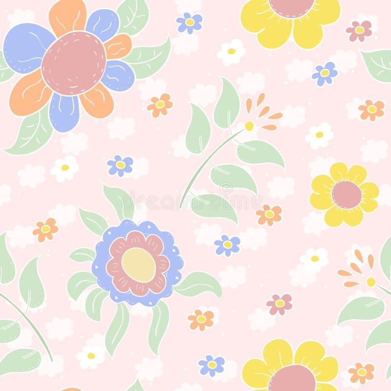 与逗人喜爱的多彩多姿的花的无缝的样式 向量背景 库存例证