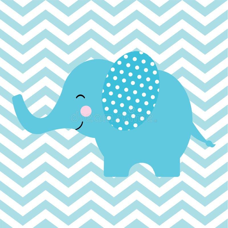与逗人喜爱的大象的婴儿送礼会卡片在V形臂章背景 向量例证