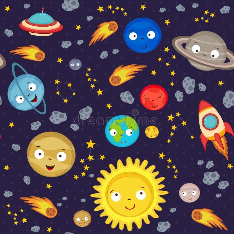 与逗人喜爱的太阳系的无缝的样式 库存例证