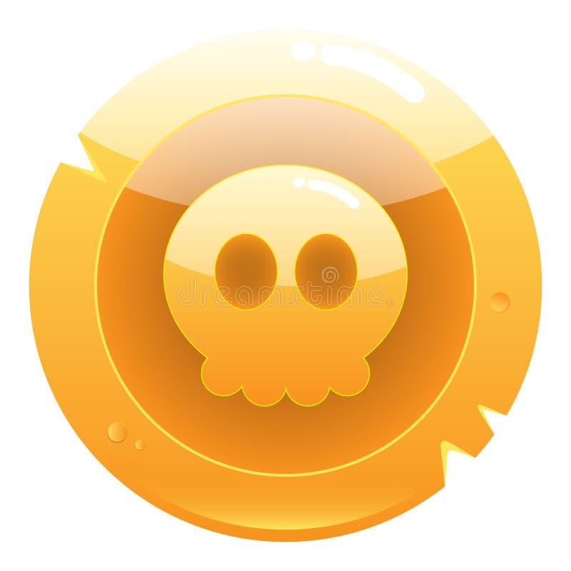 与逗人喜爱的头骨的金黄比赛海盗硬币象 库存例证