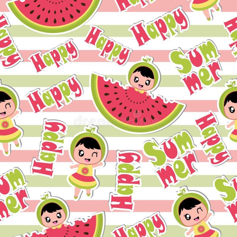 与逗人喜爱的女孩的夏天无缝的在镶边背景动画片的样式和西瓜为夏天贴墙纸 向量例证