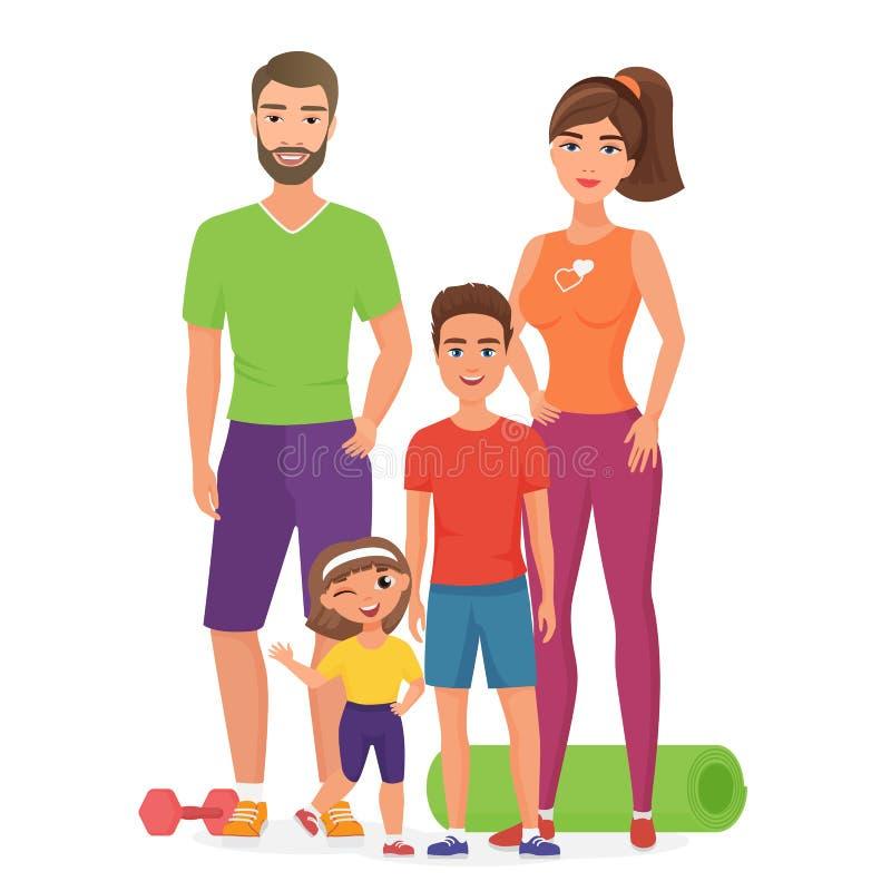 与逗人喜爱的孩子的体育生活方式健康年轻家庭 父亲、和女儿介入健身活动母亲、儿子 库存例证