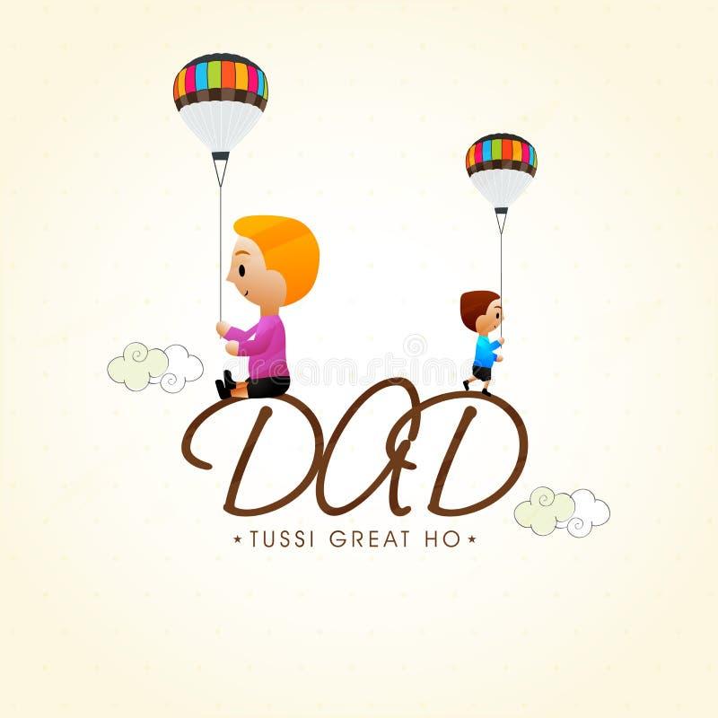 与逗人喜爱的孩子的愉快的父亲节庆祝 皇族释放例证