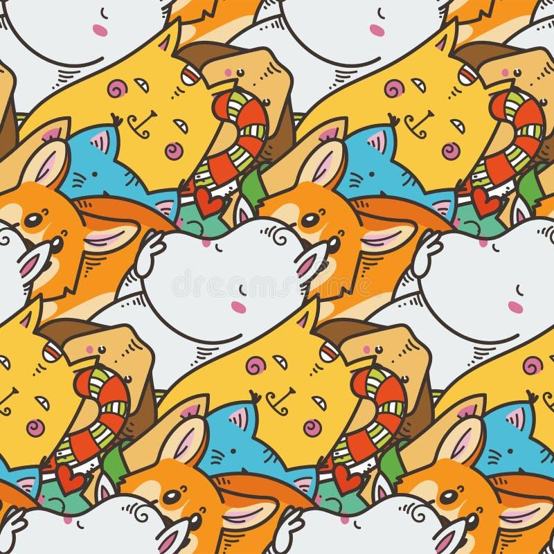 与逗人喜爱的家畜的无缝的样式 Kawaii乱画宠物 皇族释放例证