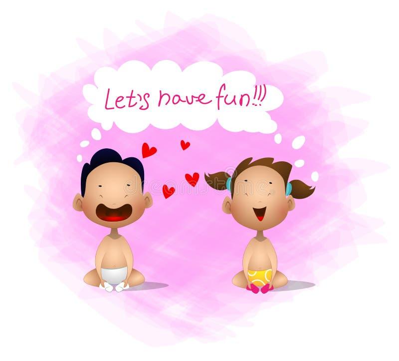 与逗人喜爱的小孩的横幅 可爱的坐的和笑的动画片 库存例证
