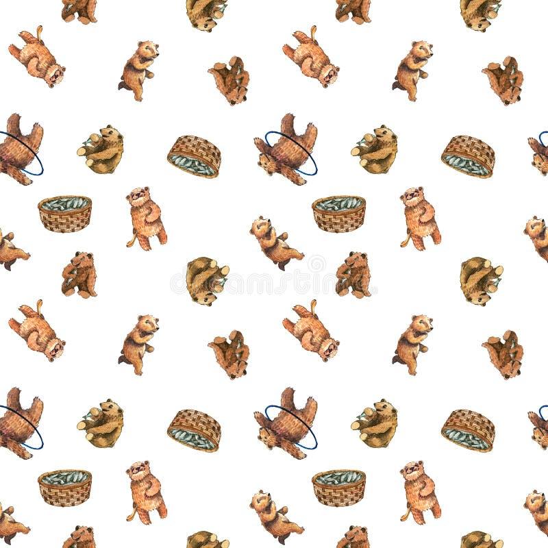 与逗人喜爱的小熊的水彩无缝的样式 库存例证