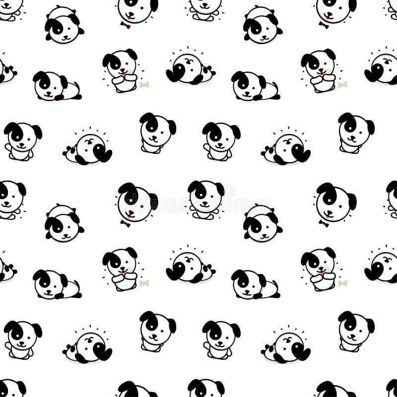 与逗人喜爱的小狗传染媒介例证的无缝的样式,家庭动物简单的纹理元素的汇集,黑色和 皇族释放例证