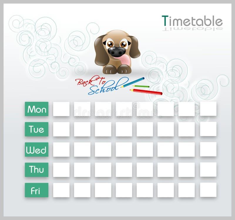 与逗人喜爱的小狗的时间表 库存例证