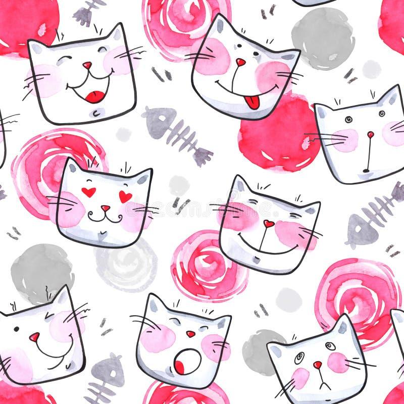 与逗人喜爱的小猫的手画无缝的样式 在白色背景的水彩明亮的动画片猫 可爱的纹理 皇族释放例证