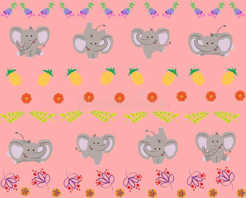 与逗人喜爱的小的大象的样式 也corel凹道例证向量 库存例证