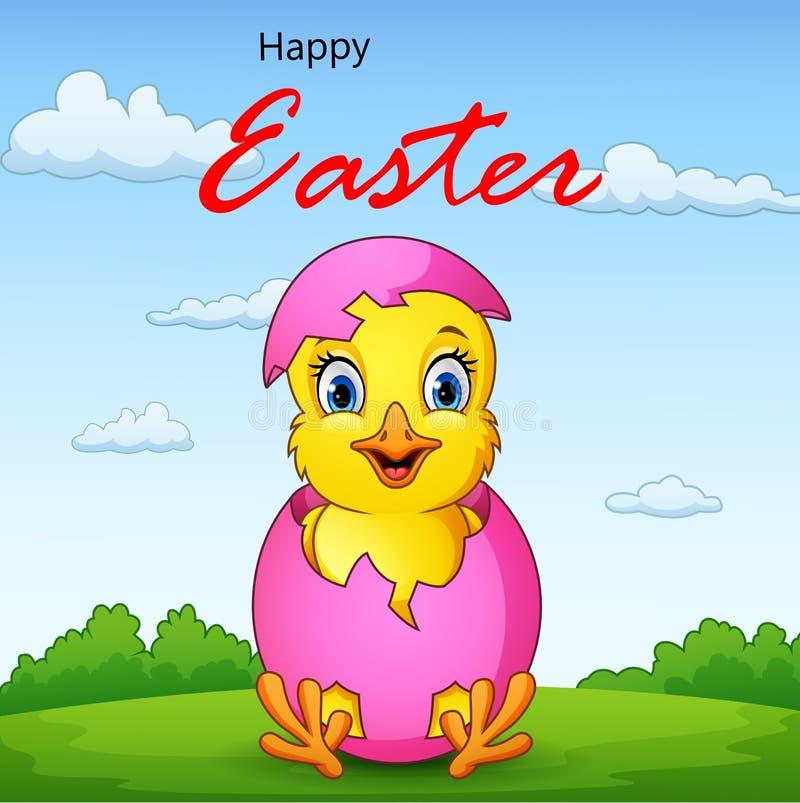 与逗人喜爱的小的小鸡的愉快的复活节背景 向量例证