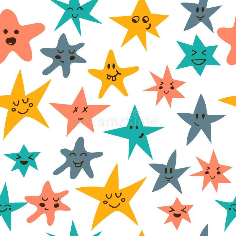 与逗人喜爱的小的星的无缝的样式 向量例证