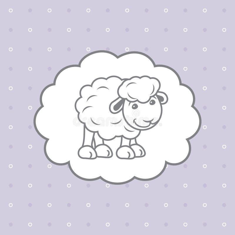 与逗人喜爱的小绵羊的蓝色圆点背景 库存例证