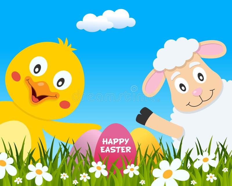 与逗人喜爱的小鸡和羊羔的复活节快乐 皇族释放例证