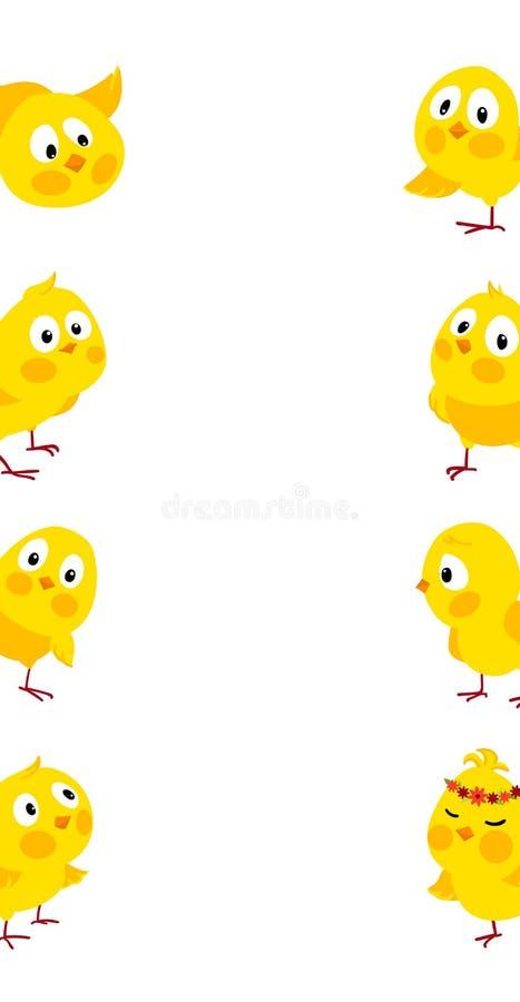 与逗人喜爱的小鸡的复活节垂直的传染媒介边界 向量例证