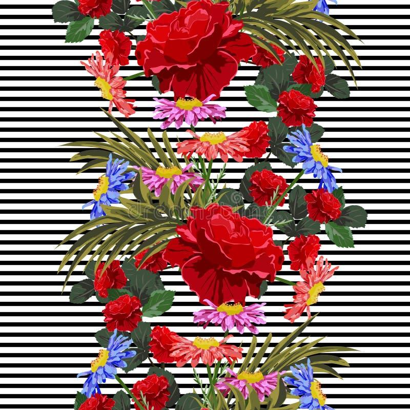 与逗人喜爱的庭院的无缝的样式在镶边背景开花 向量例证