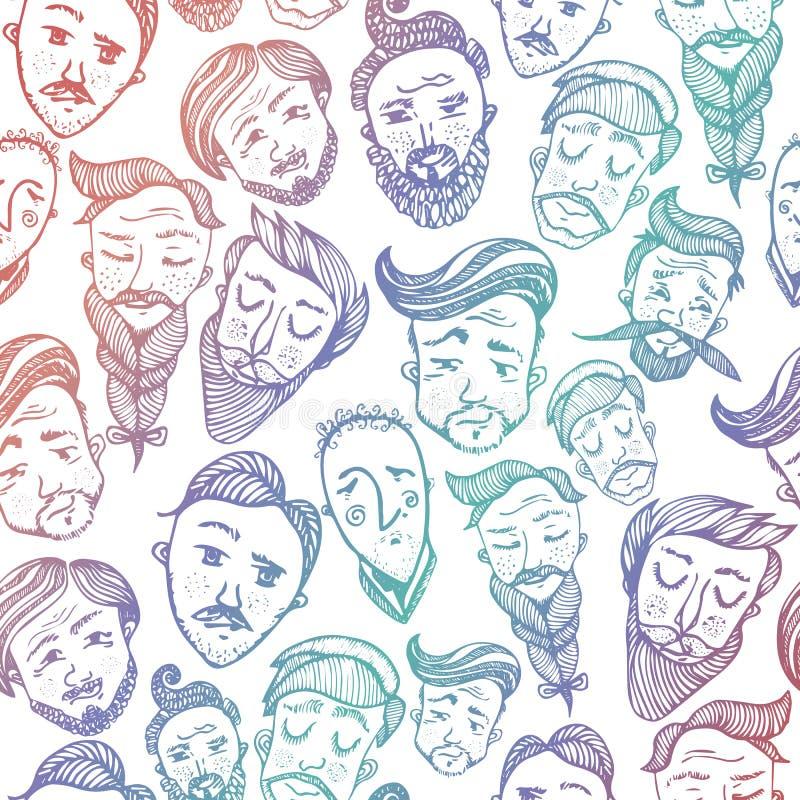 与逗人喜爱的微笑的年轻和年长人头的无缝的样式有各种各样的发型的 与时髦的人民的背景 向量例证