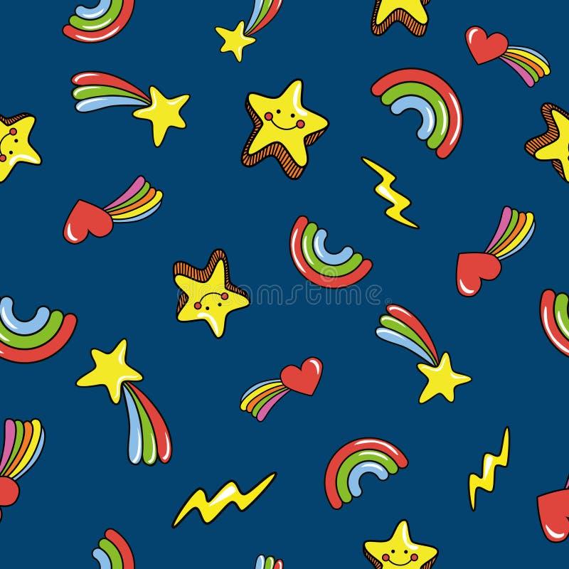 与逗人喜爱的微笑的星的无缝的样式 乱画彗星,闪电,在深刻的深蓝背景的彩虹 向量 向量例证
