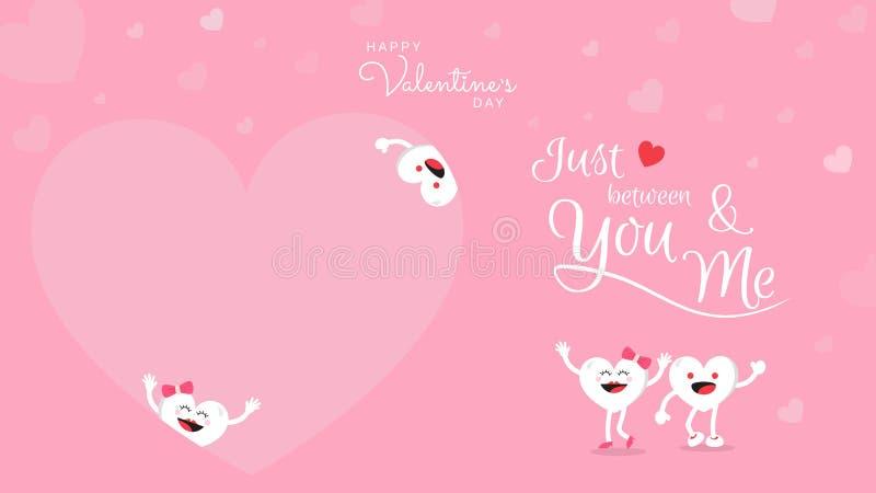 与逗人喜爱的心脏动画片的情人节背景和书法在您和我之间 向量例证