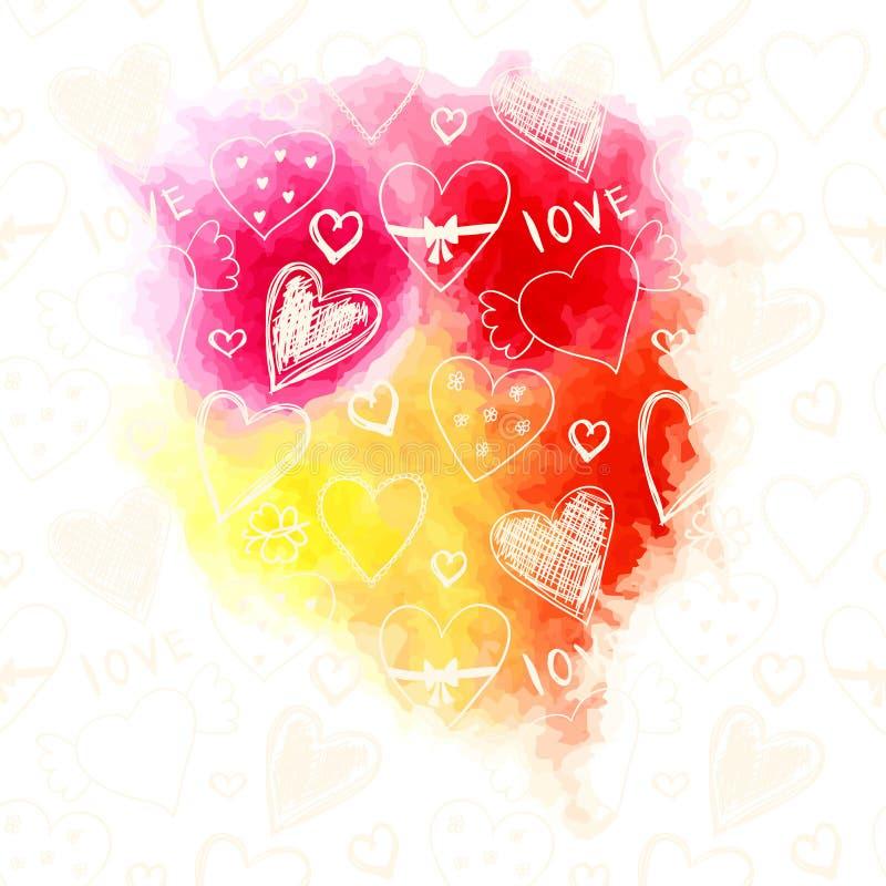 与逗人喜爱的心脏和花纹花样的明亮的水彩飞溅 向量例证