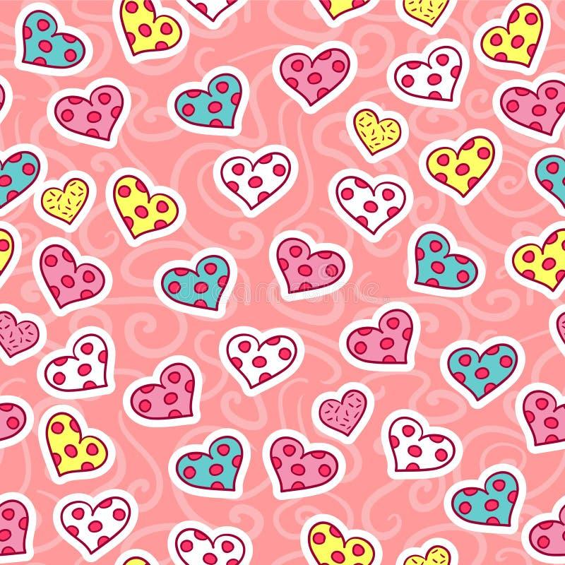 与心脏的浪漫无缝的样式 库存例证
