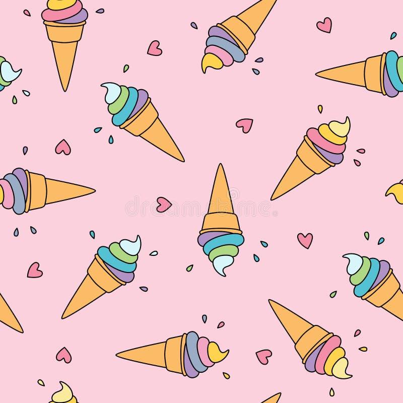 与逗人喜爱的心脏的淡色冰淇凌无缝的样式在桃红色背景 库存例证