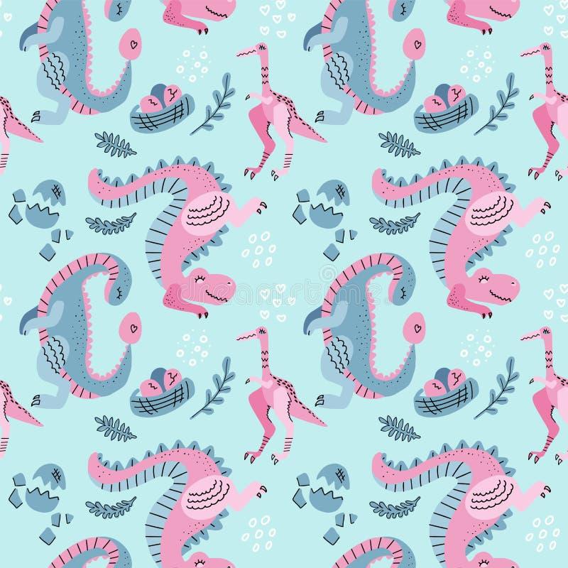 与逗人喜爱的恐龙,在巢线性装饰的鸡蛋的手拉的无缝的传染媒介样式 在蓝色背景的反复墙纸 向量例证