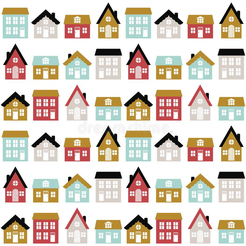 与逗人喜爱的房子的现代无缝的幼稚样式斯堪的纳维亚样式的 哄骗印刷品的城市纹理 库存例证