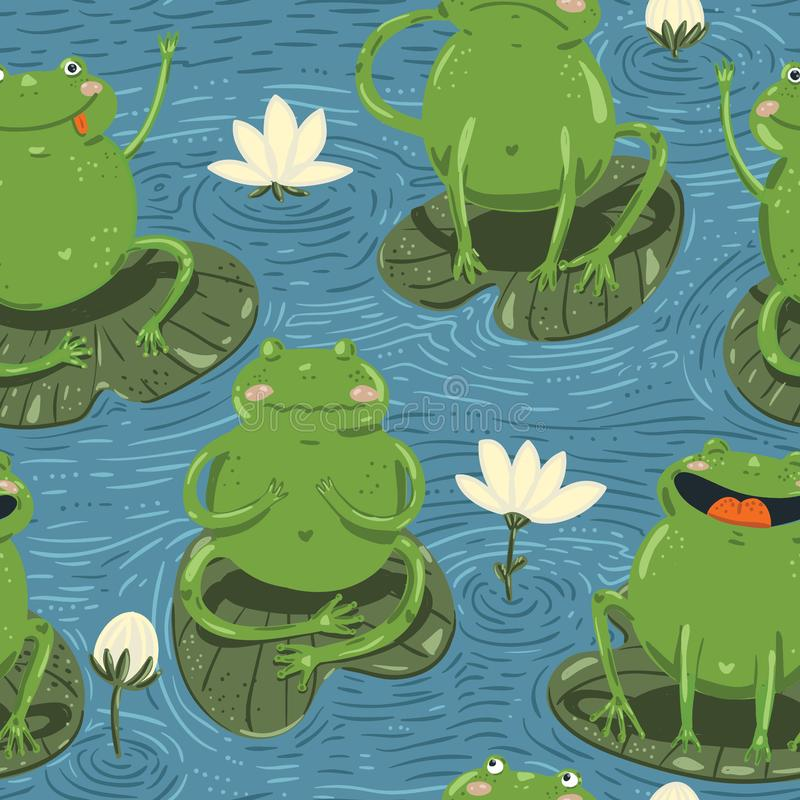 与逗人喜爱的手凹道青蛙的watterlilly无缝的样式和 库存例证