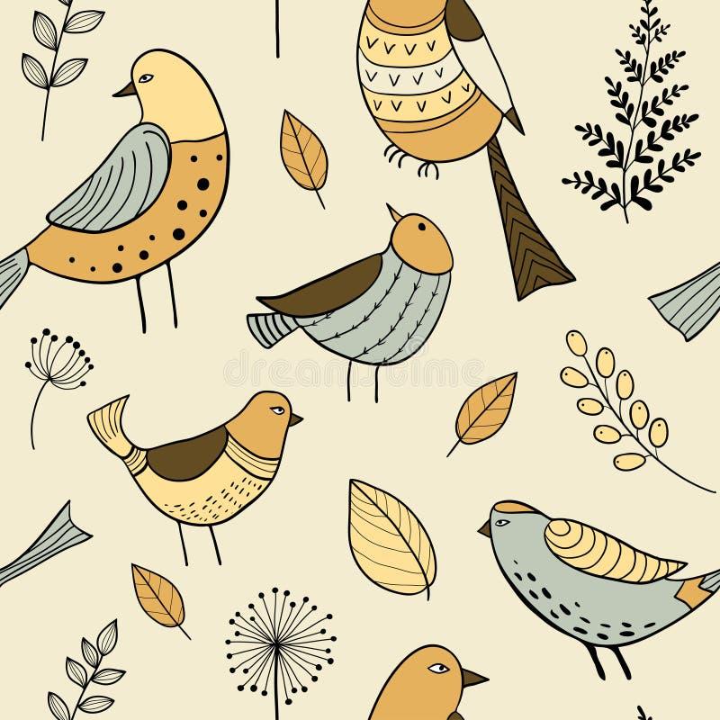 与逗人喜爱的手拉的乱画鸟的无缝的样式 向量例证