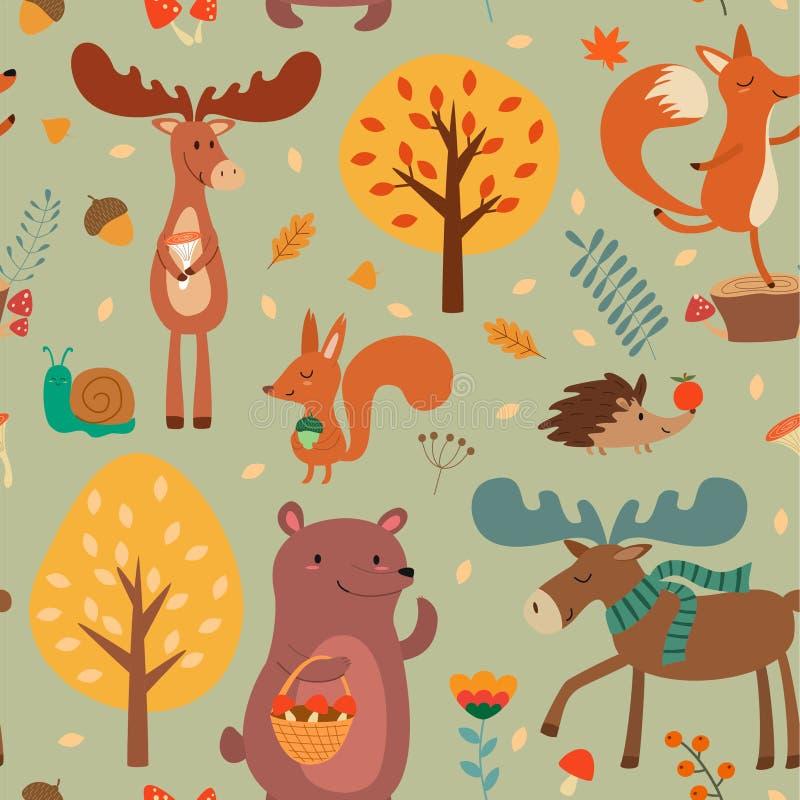 与逗人喜爱的手拉的森林动物和秋天花卉元素的秋天样式 无缝的纹理向量 向量例证